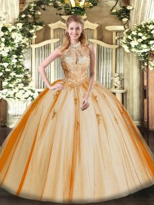 Halter Top Sleeveless Tulle Quinceanera Gown Lace and Appliques Lace Up