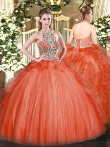 Fashionable Red Halter Top Lace Up Beading and Ruffles Sweet 16 Dresses Sleeveless