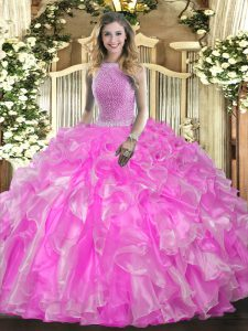 Luxurious Sleeveless Lace Up Floor Length Beading and Ruffles 15th Birthday Dress
