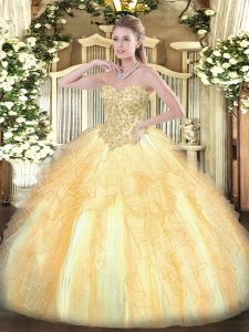 Captivating Floor Length Ball Gowns Sleeveless Champagne Sweet 16 Dress Lace Up