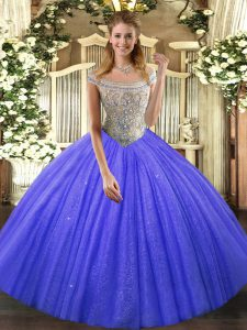 Floor Length Blue Sweet 16 Dresses Tulle and Sequined Sleeveless Beading