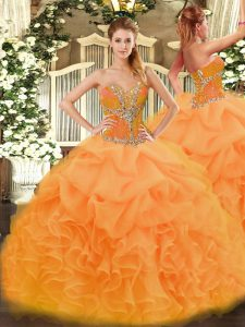 Charming Orange Sweetheart Neckline Beading and Ruffles Quinceanera Gown Sleeveless Lace Up