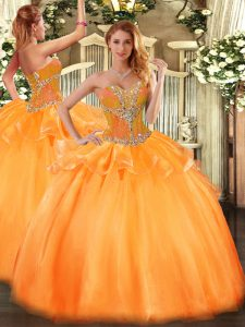 Captivating Orange Sweetheart Lace Up Beading Quinceanera Gown Sleeveless