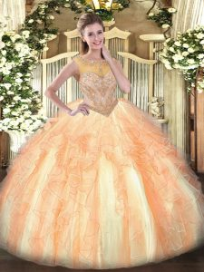 Organza Sleeveless Floor Length 15th Birthday Dress and Beading and Ruffles