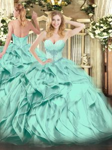 Deluxe Turquoise Sleeveless Floor Length Beading and Ruffles Lace Up Quinceanera Gowns