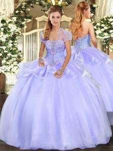 Customized Lavender Organza Lace Up Sweet 16 Dresses Sleeveless Floor Length Appliques