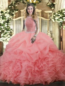 Fantastic Floor Length Ball Gowns Sleeveless Watermelon Red Quince Ball Gowns Lace Up