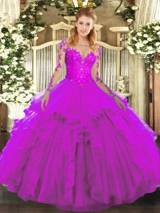 Fuchsia Long Sleeves Floor Length Lace and Ruffles Lace Up Quince Ball Gowns
