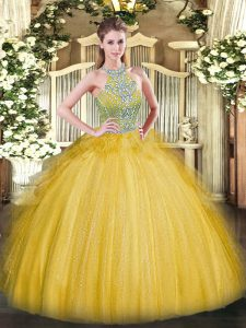 Tulle Sleeveless Floor Length Quinceanera Gown and Beading and Ruffles