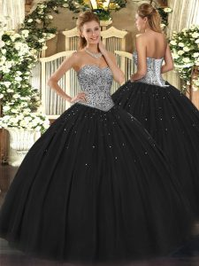 Floor Length Lace Up Quinceanera Gowns Black for Military Ball and Sweet 16 and Quinceanera with Beading