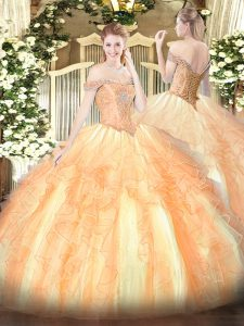 Flare Sleeveless Lace Up Floor Length Beading and Ruffles Sweet 16 Quinceanera Dress