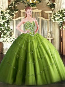 Customized Olive Green Lace Up Ball Gown Prom Dress Beading and Appliques Sleeveless Floor Length