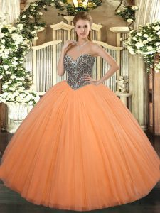 Tulle Sleeveless Floor Length Sweet 16 Dress and Beading