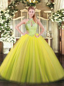 Exceptional Floor Length Lace Up Sweet 16 Dress Yellow Green for Military Ball and Sweet 16 and Quinceanera with Sequins