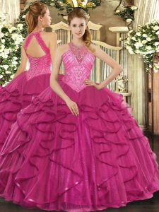 Unique Hot Pink Sweet 16 Dresses Military Ball and Sweet 16 and Quinceanera with Beading and Ruffles High-neck Sleeveless Lace Up