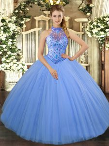 Halter Top Sleeveless Sweet 16 Dress Floor Length Beading and Embroidery Baby Blue Tulle