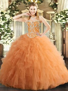 Flirting Orange Lace Up Sweetheart Beading and Ruffles 15th Birthday Dress Tulle Sleeveless