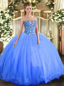 Super Sweetheart Sleeveless Vestidos de Quinceanera Floor Length Embroidery Blue Organza and Tulle