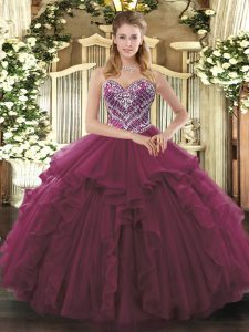 Exquisite Burgundy Lace Up Sweetheart Beading and Ruffles Sweet 16 Dresses Tulle Sleeveless