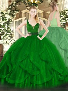 Elegant Dark Green Zipper Straps Beading and Ruffles Quinceanera Gowns Tulle Sleeveless
