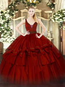 Luxury Sleeveless Organza Floor Length Zipper Sweet 16 Quinceanera Dress in Wine Red with Beading and Ruffled Layers