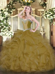 Ball Gowns Ball Gown Prom Dress Brown Sweetheart Organza Sleeveless Floor Length Lace Up