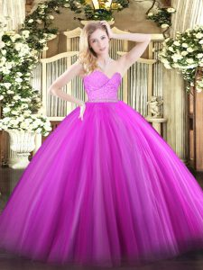 Traditional Sleeveless Floor Length Beading and Lace Zipper Quinceanera Dresses with Fuchsia