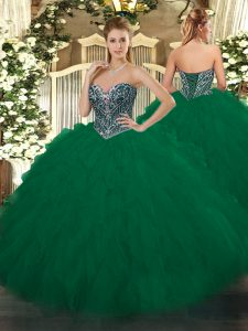 Dark Green Sweetheart Neckline Beading and Ruffles Vestidos de Quinceanera Sleeveless Lace Up