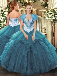 Teal Sleeveless Beading and Ruffles Floor Length Quince Ball Gowns