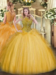 Fine Floor Length Zipper Vestidos de Quinceanera Gold for Sweet 16 and Quinceanera with Beading and Ruffles