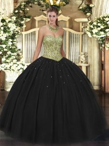 Top Selling Sweetheart Sleeveless Tulle Quinceanera Dresses Beading Lace Up