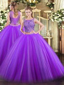 Floor Length Eggplant Purple Quinceanera Dresses Tulle Sleeveless Beading