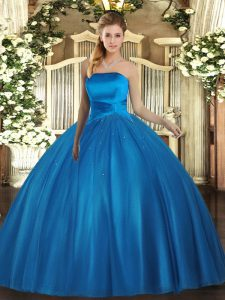 Low Price Ball Gowns Quinceanera Dresses Baby Blue Strapless Tulle Sleeveless Floor Length Lace Up