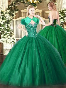 Fashion Sleeveless Tulle Floor Length Lace Up Quinceanera Gown in Dark Green with Beading