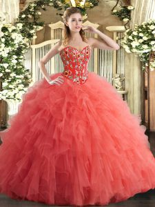 Sweetheart Sleeveless Lace Up Sweet 16 Dresses Watermelon Red Tulle