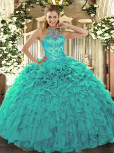 Delicate Turquoise Quinceanera Gown Military Ball and Sweet 16 and Quinceanera with Beading and Embroidery and Ruffles Halter Top Sleeveless Lace Up