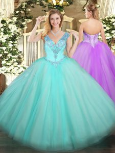 Enchanting Aqua Blue Sleeveless Tulle Lace Up 15th Birthday Dress for Military Ball and Sweet 16 and Quinceanera