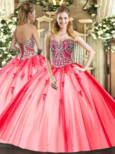 749783d4b42 New Style Coral Red Sweetheart Lace Up Beading and Appliques Sweet 16  Dresses Sleeveless