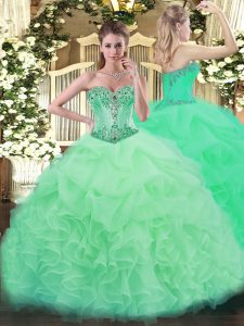 Floor Length Apple Green 15th Birthday Dress Sweetheart Sleeveless Lace Up