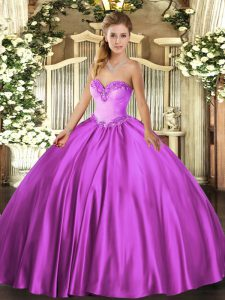 Beading Quinceanera Dress Fuchsia Lace Up Sleeveless Floor Length