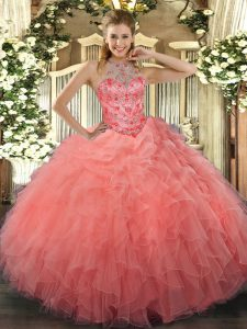 Simple Sleeveless Organza Floor Length Lace Up Sweet 16 Dresses in Watermelon Red with Beading and Embroidery