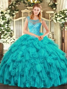 Aqua Blue Lace Up Vestidos de Quinceanera Beading and Ruffles Sleeveless Floor Length