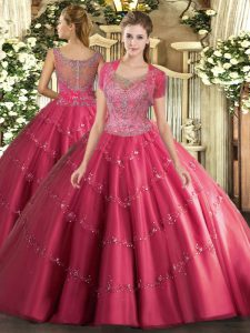 Adorable Hot Pink Scoop Neckline Beading and Appliques Quinceanera Gown Sleeveless Clasp Handle