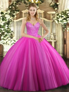 Fuchsia Sleeveless Floor Length Beading Lace Up Sweet 16 Dresses