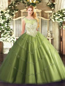 High End Scoop Cap Sleeves Zipper Quinceanera Dress Olive Green Tulle