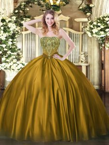 Eye-catching Brown Satin Lace Up Quince Ball Gowns Sleeveless Floor Length Beading