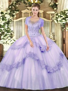 Best Lavender Tulle Clasp Handle Ball Gown Prom Dress Sleeveless Floor Length Beading and Appliques