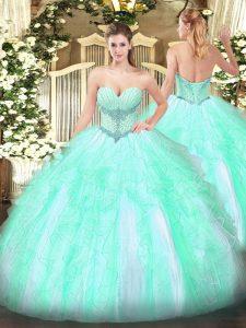 Custom Design Beading and Ruffles 15th Birthday Dress Apple Green Lace Up Sleeveless Floor Length