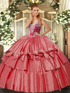 Coral Red Ball Gowns Organza and Taffeta Straps Sleeveless Beading and Ruffled Layers Floor Length Lace Up Quinceanera Dresses