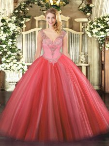 Delicate Coral Red Lace Up V-neck Beading Sweet 16 Quinceanera Dress Tulle Sleeveless